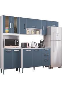 Cozinha Compacta 8 Portas Com Balcão Lavínia Branco/Cinza Platinum - P