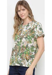Camiseta Colcci Estampada Feminina - Feminino-Verde+Branco