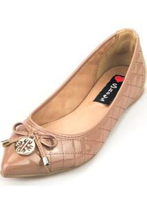 Sapatilha Love Shoes Bico Fino Laçinho Matelasse Verniz Nude