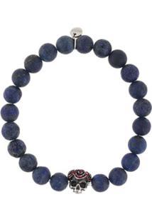 Tateossian Bracelete Skull Gear Com Aplicação De Contas - Azul
