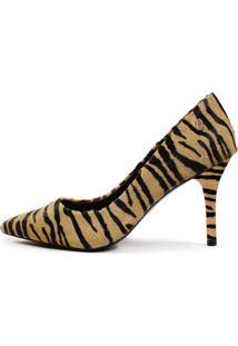 Scarpin Couro Salto Alto Fino Bico Fino Zebra Natural