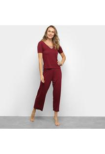 Pijama Longo Lupo Capri Renda Feminino - Feminino