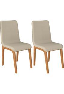 Kit 02 Cadeiras Decorativas Sala De Jantar Madeira Champagne Lins Linho Bege - Gran Belo