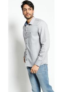 Camisa Slim Fit Mescla- Cinza Claro & Azulvip Reserva