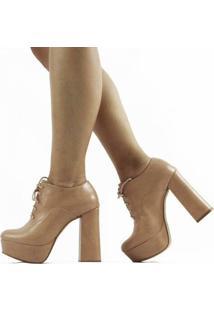 Ankle Boot Lizy Napa Feminino - Feminino-Bege