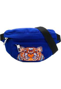 Kenzo Pochete Com Bordado De Tigre E Logo - Azul