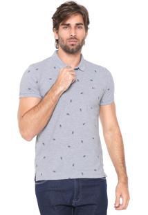 Camisa Polo Aramis Slim Estampada Cinza