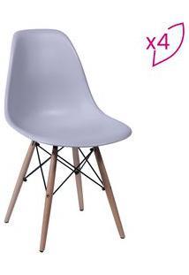 Or Design Jogo De Cadeiras Eames Dkr Cinza & Madeira 4Pã§S