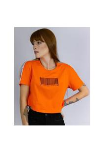 Camiseta Cropped Estampado Codigo Laranja, Cor: Laranja, Tamanho: Pp Laranja