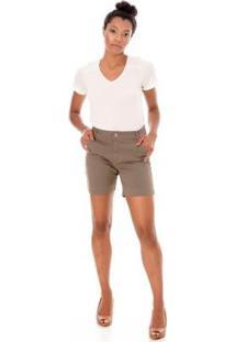 Bermuda Sisal Jeans Meia Coxa Color Feminina - Feminino-Verde