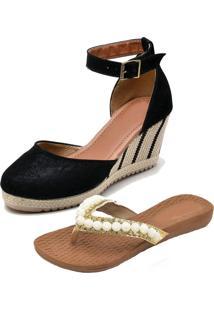 Kit Sandálias Ousy Shoes Anabella Mais Rasteirinha Preto