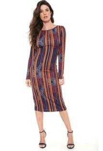 3e93ca9af R$ 325,00. Dafiti Vestido Morena Rosa Midi Estampado Caramelo/Azul