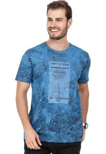 Camiseta Folhagens Azul