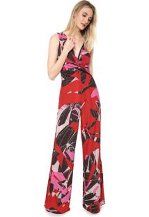 Macacão Forum Pantalona Estampado Vermelho/Rosa