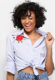 Camisa Drezzup Bordada Feminina - Feminino-Branco+Azul