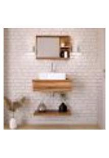 Conjunto Para Banheiro Bancada Com Cuba Q39 Quadrada, Prateleira E Espelheira City 606 Nogal