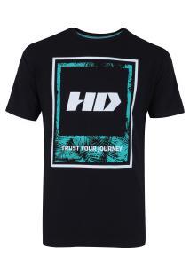Camiseta Hd Watercolor Leaves - Masculina - Preto