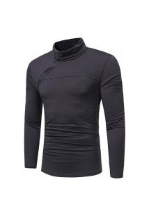 Camisa Masculina Slim Fit Botton - Cinza Escura