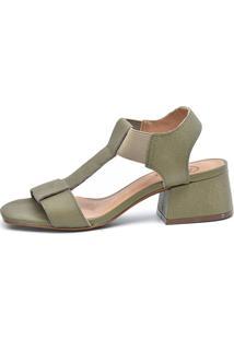 Sandália Scarpan Calçados Finos Em Couro Com Salto Geométrico Médio - Verde - Tricae