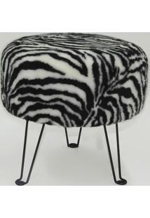Puff Estofado Zebra Base Metálica Pf7003 - Tecno Mobili