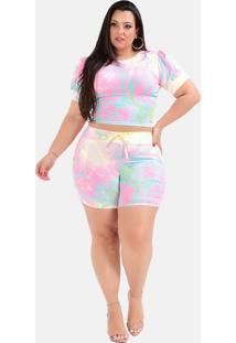 Shorts E Cropped Tie Dye Sig Estilo Plus Size Grande - Estampado - Feminino - Dafiti