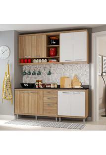 Cozinha Compacta 4 Peças Sicília 5818-S10 - Multimóveis - Argila Acetinado / Branco Acetinado