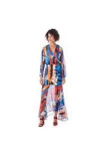 Vestido Maria Valentina Longo Decote Transpassado Com Transparência Azul