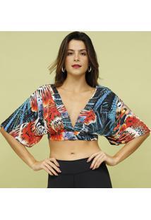 Blusa Cropped Com Amarraã§Ã£O- Laranja & Azul- Livellemos Beach Wear