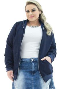 Jaqueta Confidencial Extra Plus Size Jeans Com Capuz Feminina - Feminino-Marinho