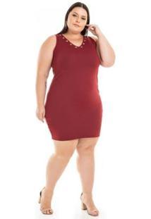 Vestido Ponta Roma Tubinho Com Ilhós Miss Masy Plus Size Feminino - Feminino-Vermelho