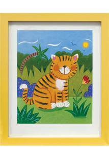 Quadro Montado Com Vidro Tigre 23X28Cm Amarelo