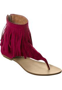 Sandália Rasteira Vermelha Detalhe Franjas