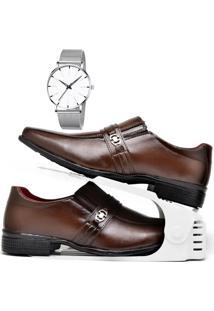 Kit Sapato Social Com Organizador E Relógio Clean Dubuy 806Db Marrom - Kanui