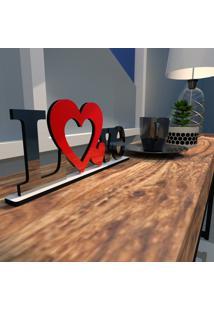 Escultura De Mesa Love Dois Corações Vermelho Preto Único