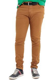 Calça Jeans Mania Do Jeans Com Lycra Caramelo