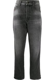 Diesel Calça Jeans Reta Aryel Com Acabamento De Corrente - Cinza