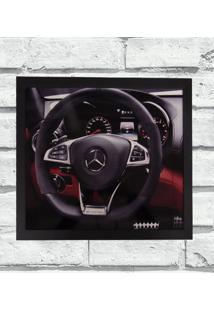Quadro Decorativo Metal Volante Mercedes Cor Preto 40X50X2Cm