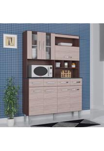 Cozinha Compacta 7 Portas 4 Gavetas Melissa 6280 Capuccino/Amêndoa - Poquema