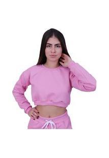 Blusa Moletom Cropped Plus Size Manga Longa Rosa