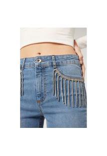 Calça Jeans Com Franjas Em Strass - Azul M