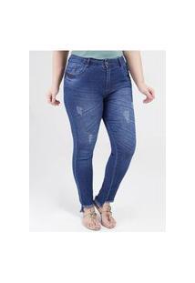 Calça Jeans Skinny Plus Size Feminina Azul