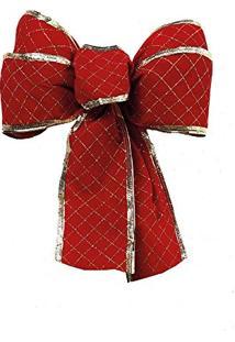 Laço De Árvore De Natal Veludo C/Losangos Vermelha