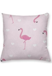 Capa De Almofada Decorativa Own Flamingos Fundo Rosa 45X45 - Somente Capa
