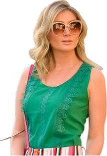 ... Blusa Mamorena Cavada Frente Com Rendas Guipir Verde cb223343d16