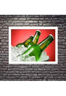 Quadro Decorativo Garagem Balde De Cerveja Gelada Branco - Médio
