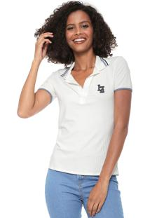 Camisa Polo Lez A Lez Canelada Off White