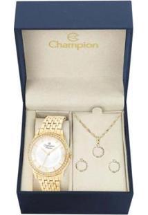 Kit Relógio Champion Analógico Cn27947W Feminino - Feminino-Dourado