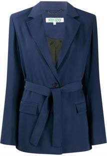 Kenzo Blazer Com Cinto - Azul