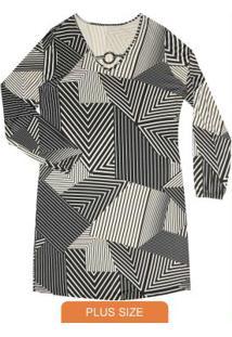Vestido Feminino Estampa Geométrica Preto