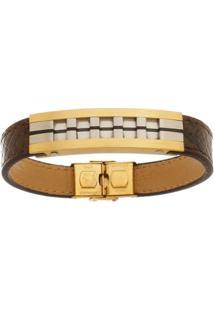 Bracelete De Aço Inox Tudo Joias Gold Com 13Mm De Largura - Unissex